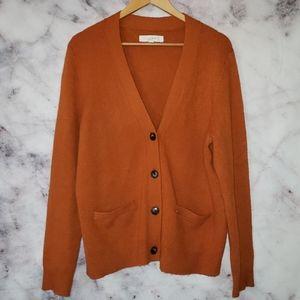 Loft burnt orange cardigan sweater size XL